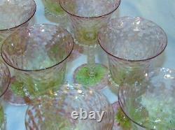 10 Pink Green Watermelon Venetian Italy Glass Wine Stems AKA Alpha Kappa Alpha