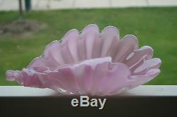 13 LARGE 1940s S. PUCCINI Murano Art Glass Alabastro Pink Opaline SHELL BOWL