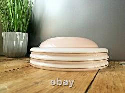 1930's Art Deco Pink Gold Stripes Odeon Ufo Ceiling Glass Light Shade Flycatcher