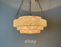 1930's Art Deco Stepped Glass Plafonnier Ceiling Light With Pink Marbling