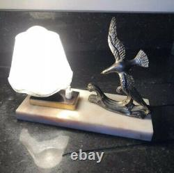 1930s Marble Table Lamp Seagull Statue French Art Deco Pink Glass Light Onyx Old