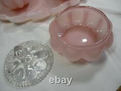 1940 Vintage Fenton Peach Pink Melon Vanity Set, Vase, Pitcher, Perfume and TRAY