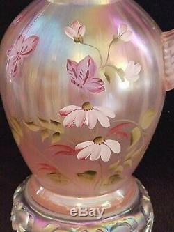 1997 Fenton Pink Champagne Pitcher Field Of Flowers Painted By Marilyn Wagner