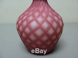 19th C. PHOENIX GLASS SOFT ROSE CUT VELVET SATIN ART GLASS BOTTLE VASE