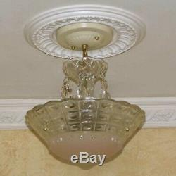 241 Vintage antique Glass Ceiling Light Lamp Fixture Chandelier art deco pink