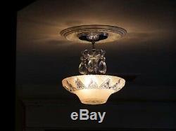 256 Vintage antique aRT DEco Ceiling Light Lamp Fixture Glass Chandelier pink