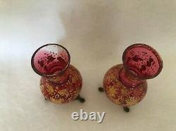 2 Antique Cranberry Pink Glass Mini Vases Gold Enamel Decor Butterfly Brass Feet