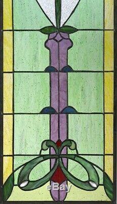30.5 x 11 Art Nouveau Organic Rose Tiffany style Stained glass Window Panel