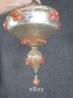 31 Antique Venetian Murano Chandelier Column Part, Pink & Gold Fleck Art Glass