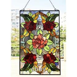 32 x 20 Tiffany-Style Rose Garden Stained Glass window Panel
