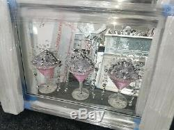 3D Pink Cocktail Glasses (3) on an art mirrored picture