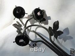 3 Foot ART DE FRANCE FIGURAL LAMP, Art Nouveau Re-Creation 3 Tulip Glass Shades