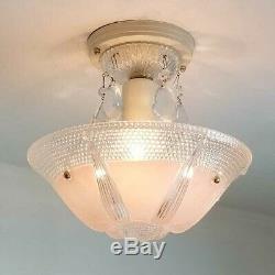 484z Vintage antique art deco Ceiling Light Glass Fixture Chandelier bedroom