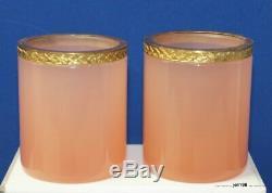 4 Pc Dresser Set Cenedese Murano Pink Opaline Glass Ormolu 1950s