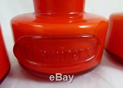 4 x Coral & Opal Holmegaard Palet Spice Jars with Stoppers