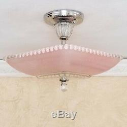560z Vintage antique Hobnail art deco Glass Ceiling Light Lamp pink
