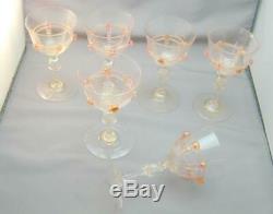 5 Antique Pink & Gold Salviati Wine Cordial Glasses Ornate