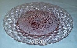 6 Antique Salviati Murano Glass Pink & Gold Fleck Diamond Optic 8.5 Plates