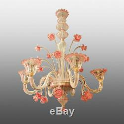 70s Murano Pastoral Chandelier Pauly Venice Pink Flowers Crystal Art Glass