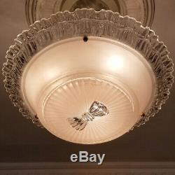 780b Vintage antique arT Deco Glass Shade Ceiling Light Lamp Fixture Chandelier