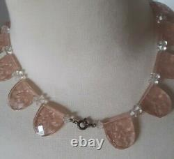 ANTIQUE ART DECO RARE ETCHED PINK FACETED GLASS NECKLACE 1920's