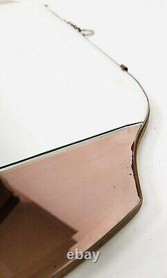 ARTS DECO PEACH GLASS FRAMELESS OVERMANTLE WALL HANGING MIRROR c1930