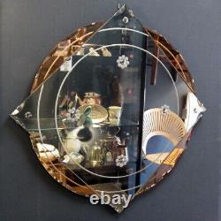ART DECO 1930s Peach Glass LARGE WALL MIRROR