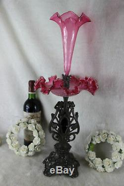 ART NOUVEAU 1900 Nymph Lady Centerpiece bowl coupe table pink glass