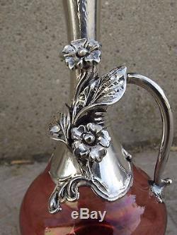 ART NOUVEAU Silver monted Miniature Glass Vase circa 1900 Pink 12 cm