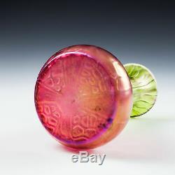 A Kralik Iridescent Honeycomb Watermelon Glass Vase c1930