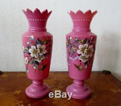 A Pair Of Antique Pink Opaline Glass Vases