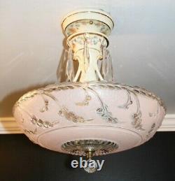 Antique 14 inch pink glass Porcelier Art Deco ceiling light fixture chandelier