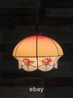 Antique 1920s Pink Yellow Rose Glass Ceiling Light Lamp Shade Edwardian Art Deco