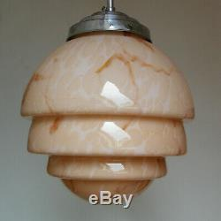Antique 1930 Art Deco Pink Slag Glass Sphere Globe Hanging Ceiling Light Fixture