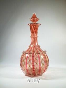 Antique 1930s Salviati Latticino/Zanfirico & Cooper Aventurine Glass Decanter