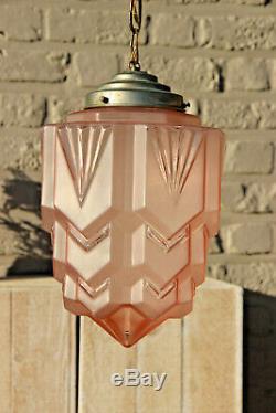 Antique ART DECO pink glass skyscraper Lantern lamp chandelier