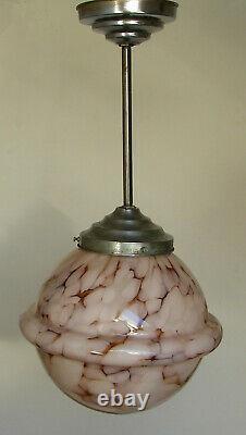 Antique Art Deco 1930 Pink Slag Glass Sphere Globe Hanging Ceiling Light Fixture