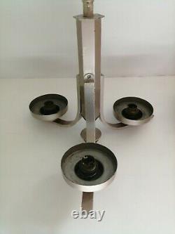 Antique Art Deco 3 Arm Light Fitting & 3 Glass Spheres Ceiling Light Chandelier