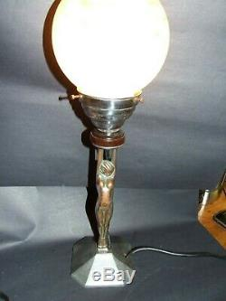 Antique Art Deco Chrome Nude Lady Diana Lamp Pink Mottled Glass Shade 1930's