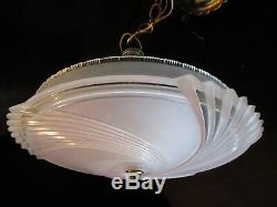Antique Art Deco Frosted Pink 16 Glass fixture ceiling chandelier Light 1940's