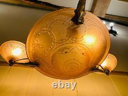 Antique Art Deco Glass & Brass Chandelier Light by Muller Freres 1930s