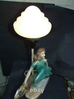Antique Art Deco Green Painted Plaster Lady Lamp & Dog Pink Glass Shade 1930's