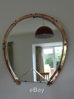 Antique Art Deco Original Old Peach Pink Glass Horseshoe Mirror 1930 1940