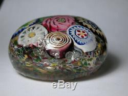 Antique Art Glass Paperweight Large Millifiori with Center Rose