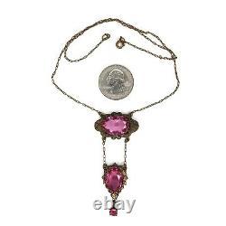 Antique Art Nouveau Paste Glass Necklace Open Bezel Pink Brass Lavalier Vtg