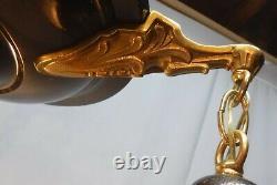 Antique Arts And Crafts Brass & Brown Pan 3 Light Fixture Pink Glass Shades