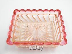 Antique Baccarat Pink Rose Swirl Pattern 5pc Vanity Set 4 Perfume Bottles & Box