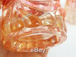 Antique Baccarat Rose Tiente Pinwheel Swirl Pattern 2 Tumbler Cups, 4 3/4
