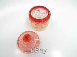 Antique Baccarat Rose Tiente Spiral Pattern 4 Piece Vanity Set, Perfumes Cup Jar