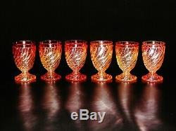 Antique Baccarat Rose Tiente Swirl six (6) tall water goblet crystal glass
